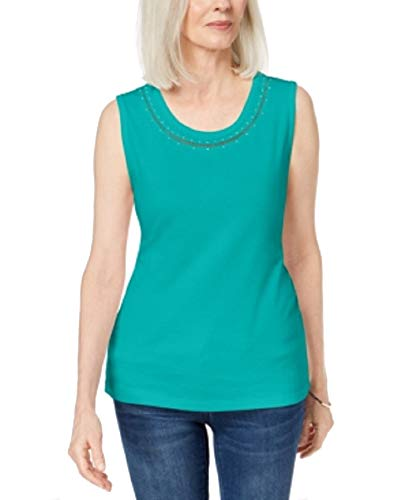 Karen Scott Cotton Studded Tank Top (Crisp Teal, S)