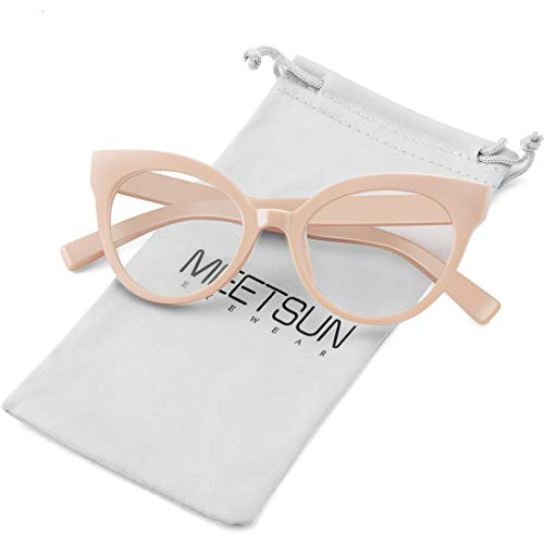 MEETSUN Womens Cat Eye Glasses Frame Fashion Designer Non Prescription Eyeglasses Clear Lens for ladies Beige Optical eyewear