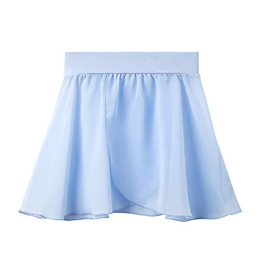 STELLE Girls/Womens Chiffon Wrap Skirt for Dance(Blue (P-O), Small (4-6))