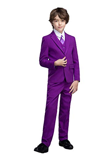 Yanlu 5 Piece Boy's Formal Suits Jacket+Vest+Pants+Shirt+Tie Kids Tuxedos Size 10 Fuchsia by Yanlu