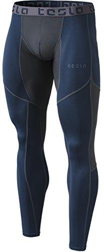 Tesla TM-MUP79-NVH_X-Large Men's Mesh-Panel Compression Pants Baselayer Cool Dry Sports Tights Leggings ()