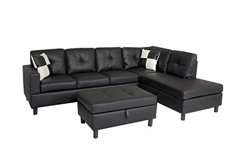 Leather Sectional Sofa Set (WINPEX 3 Piece Faux Leather Sectional Sofa Set with Free Storage Ottoman + left or right chaise orientation)