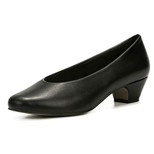 LIURUIJIA Women's Closed Toe Low Chunky Heel Pumps | Dress, Work, Party Shoes Black Matte PU-43(265/US9.5)