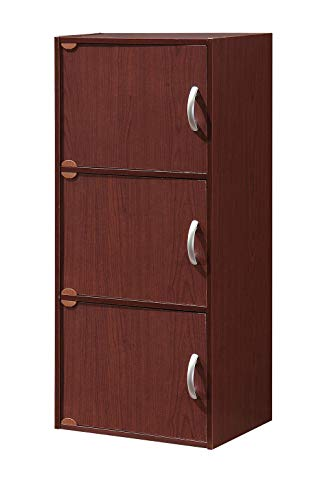 - 3 Tier Bookshelf with 3 Doors Closed Cabinet Narrow Mahogany Wood Standing Decorative Bookcase Pantry Storage Shelf for Living Room Home Office Bedroom & e-Book by jn.widetrade