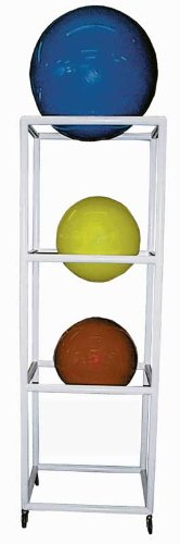 Storage Rack, Exercise Ball, Mobile, White 4 Shelf by RiversEdge Products