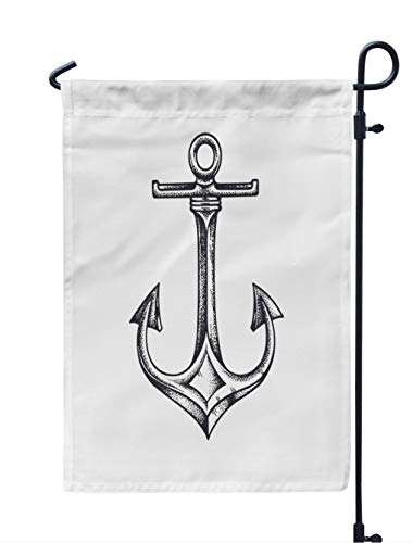 Soopat Sea Anchor Seasonal Flag, Sea Anchor Drawn White Anchor Nautical Tattoo Artwork Weatherproof Double Stitched Outdoor Decorative Flags for Garden Yard 12''L x 18''W Welcome Garden Flag