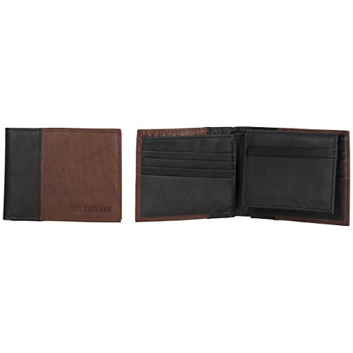 Ben with Window Color RFID Flip Brown with With Color Brown Wallet Men's Bi Fold Leather Block Sherman Id up Passcase Black Black Block fAwPxq6rfn