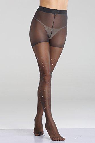 1c7bf71eac380 FanShou Women Control Top Sheer Sparkle Glitter Rhinestone Pantyhose ...