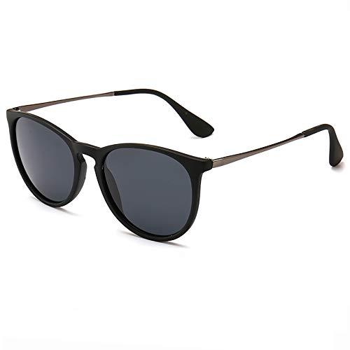 SUNGAIT Vintage Round Sunglasses for Women Classic Retro Designer Style (Black Frame(Matte Finish)/Polarized Grey Lens) 1567 PGHKH