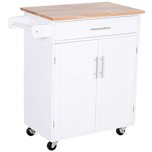 HOMCOM Kitchen Cabinet Island with Large Countertop, Storage Space, and Omni-Directional Castor Wheels