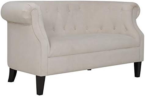 Ravenna Home Westcott Tufted Loveseat Sofa Couch, 60 W, Cream Velvet
