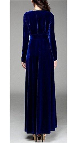 Jaycargogo Manches Longues Femmes Ruché Velours Extensible Robe Longue Bleu