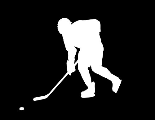 ND122W Hockey Player Skating To The Puck Decal Sticker | 5.5-Inches By 4.9-Inches | Premium Quality White Vinyl