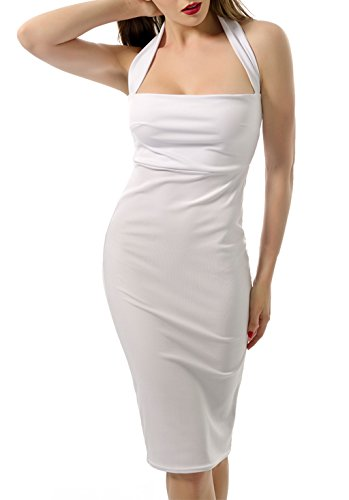 Halter Square Neck Summer Knee Midi Length Backless Sleeveless Bodycon Classic Night Club Party Dress All White Small ()