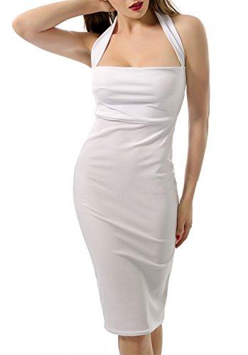 - Doramode Womens Sexy Halter Square Neck Summer Knee Midi Length Backless Sleeveless Bodycon Classic Night Club Party Dress All White Medium