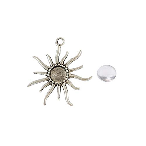 ARRICRAFT 10 Sets Alloy Antique Silver Flower Pendant Cabochon Settings with Round Glass Cabochon Cover for DIY Pendant Making, Tray 12mm