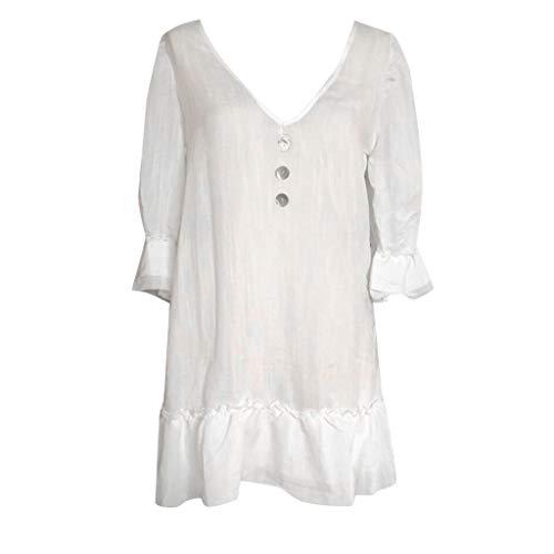 FAPIZI Women Solid Short Sleeve V-Neck Single Breasted Dress Loose Casual Beach Hem Pleated Dress Work Skirt ()