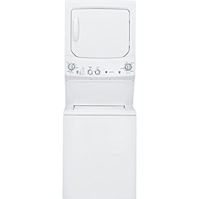 """GE GUD27ESSJWW 27"""" Unitized Spacemaker Washer and Electric Dryer in White"""