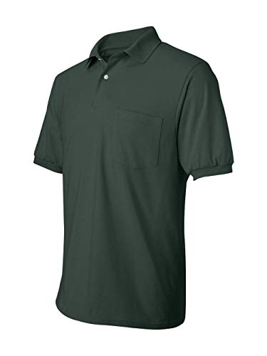 Polyester Blend Green - Hanes Men's Cotton-Blend EcoSmart® Jersey Polo with Pocket