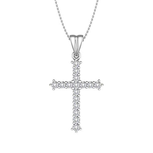 1/4 Carat Diamond Cross Pendant Necklace in 10K White Gold - IGI Certified (Silver Chain Included) ()