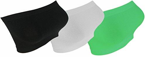 3x Damen Bandeau Neon Farben Top Body Sport Bh GoGo trägerlos Bustier bt1 schwarz/weiss/minze