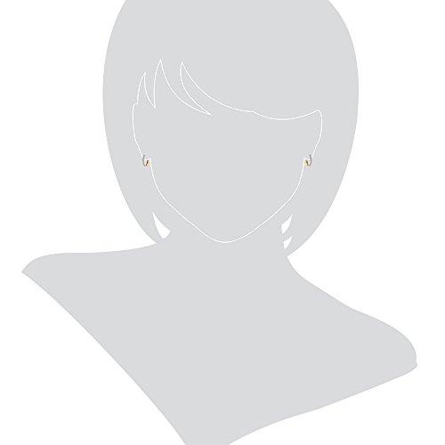 Gioiello Italano Boucles d'oreilles en or blanc et or jaune 18 carats avec zircons blancs