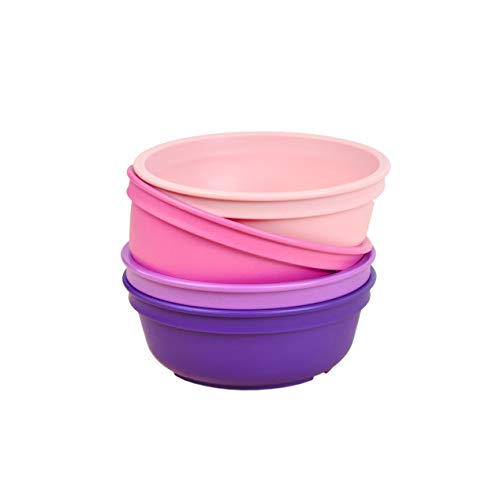 Re-Play Made in The USA 4pk Bowls for Easy Baby, Toddler, and Child Feeding – Bright Pink, Purple, Blush, Amethyst (Princess+)