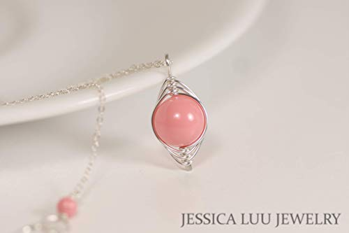 (Sterling Silver Pink Coral Necklace with Swarovski Pearl Pendant)