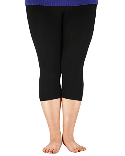 Passionate Adventure Women Bamboo Fibre Slimming Capri Pants Basic Soft Cropped Elastic Modal Leggings Plus Size Black 2XL (US Size M)