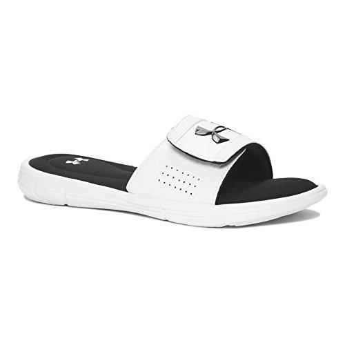 Under Armour Boys' Ignite V Slide Sandal, White (100)/Black, 12K