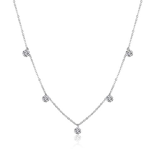 925 Silver Coker Rhinestone Star Pendant Necklace Crystal Women Chain Sterling Silver Fine Jewelry - Crystal Star Tipperary