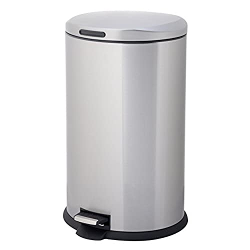 HomeZone 40 Liter Stainless Steel Oval Step Trash Can