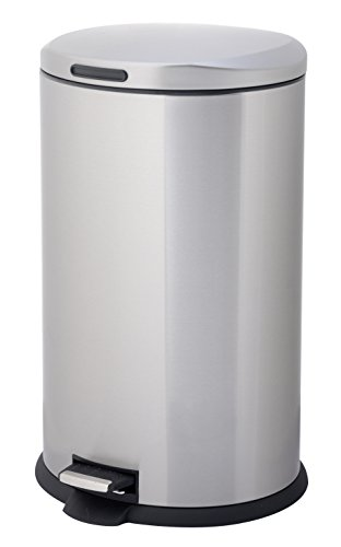 HomeZone 40-Liter Stainless Steel Oval Step Trash Can