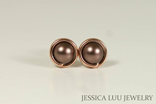 Brown Rose Earrings - Rose Gold Stud Earrings with Velvet Brown Swarovski Pearls Wire Wrapped Rose or Yellow Gold Filled