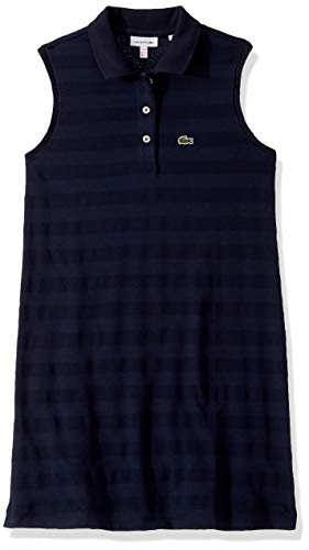 (Lacoste Little Girl Sleeveless Technical Striped Pique Dress, Navy Blue, 5YR)