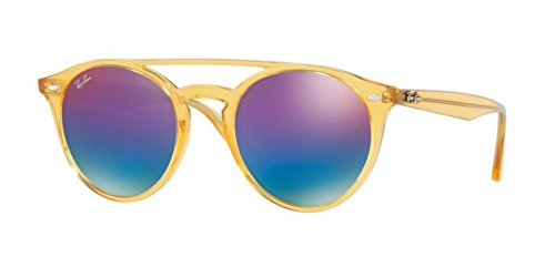 Ray-Ban Injected Unisex Non-Polarized Iridium Round Sunglasses, Yellow, 51 - Yellow Clubmaster Ray Ban