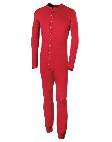 Duofold Men's Mid Weight Double Layer Thermal Union Suit, Red, Medium (Union Suit Men)