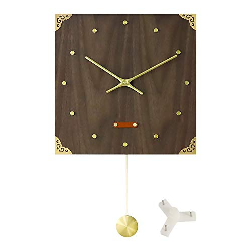 - Feileng 14'' Retro Brass Wooden Wall Clock,Walnut Veneer Clock,Round/Square Wall Clocks for Home Office marvelously