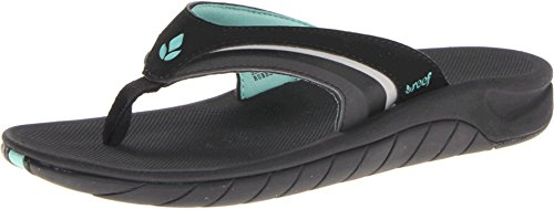 Reef Women's Slap 3 Sandal,Black/Black/Aqua,8 M US