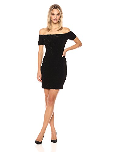 Dress the Population Women's Larissa Off Shoulder Velvet Sequin Mini Dress, Black, L - Larissa Dress