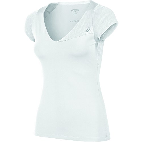 ASICS Women's Athlete Short Sleeve Top, Real White, Large Athlete Short Sleeve Top