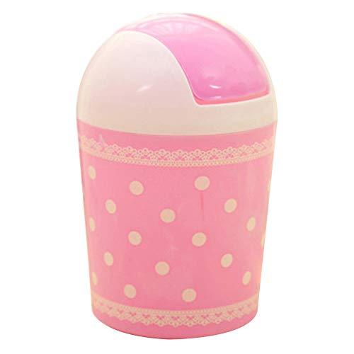 Pink Polka Dot Wastebasket - Creaon Desktop Trash Can Cute Creative Design Polka Dot Pattern Plastic Wastebasket for Narrow Spaces at Home or Office(Pink)