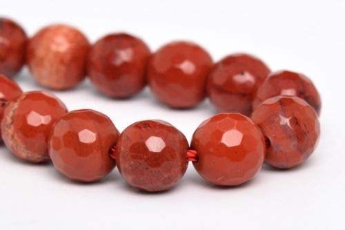 - 6mm Natural Red Jasper Beads Grade Micro Faceted Round Loose Beads 7.5'' Crafting Key Chain Bracelet Necklace Jewelry Accessories Pendants