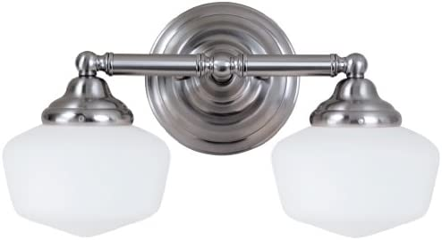 Sea Gull Lighting 44437-962 Academy – Two Light Bath Bar, Brushed Nickel Finish with Satin White Glass