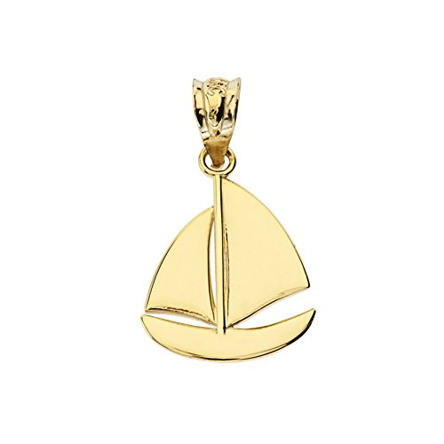 Fine 10k Yellow Gold Nautical Sailboat Charm Pendant ()