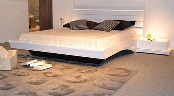 lit adulte design laqu blanc chiara avec clairage led lit 140 x 200 cm - Lit 140