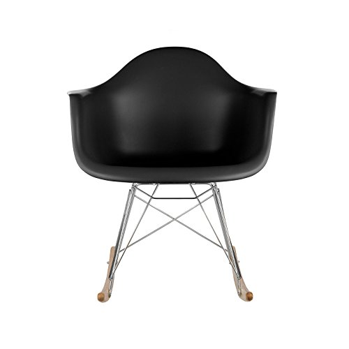 Poly and Bark Eames Style RAR Rocking Chair, Black