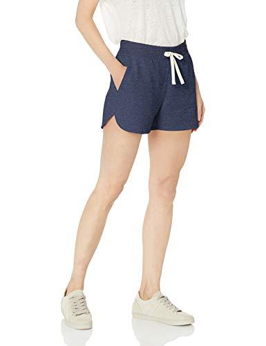 Amazon Essentials Women's French Terry Fleece Short Shorts, -navy heather, Large (Knit Pocket Shorts)