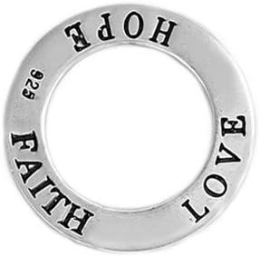 23mm Glitzs Jewels Sterling Silver Faith Love Hope Pendant