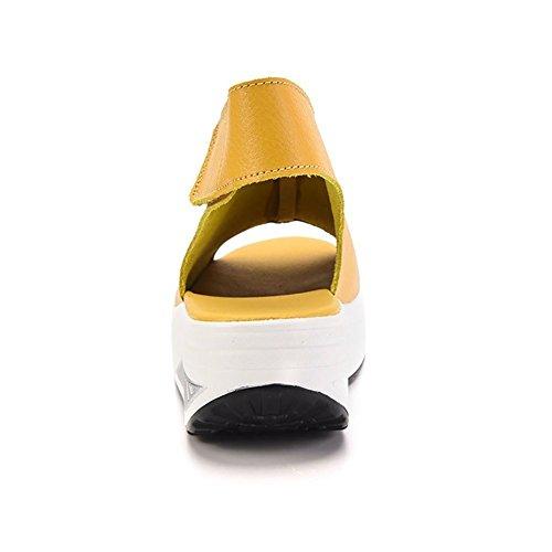 Piattaforma Camminare Sneaker Antiscivolo Giallo Toe Peep Donna Scarpe Estate Minetom con PU Pelle Fitness Sandali Zeppa Velcro Comfort 6qAOAaUw
